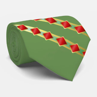 Green With Diagonal Stripes in Gold and Red Tie