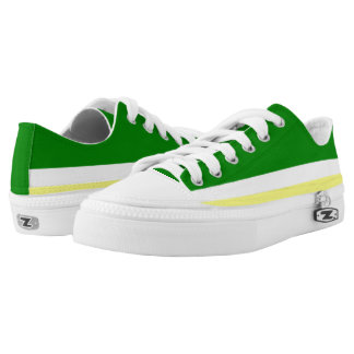 Green with Gold and White Trim Lo-Top Printed Shoes