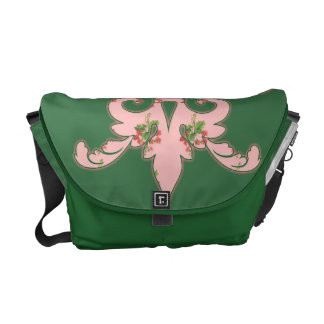 Green with Pink Abstract Design Messenger Bag
