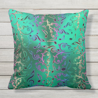 Green With Rainbow Music Notes Pattern Outdoor Cushion