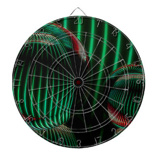 Green with red in the glass dartboard