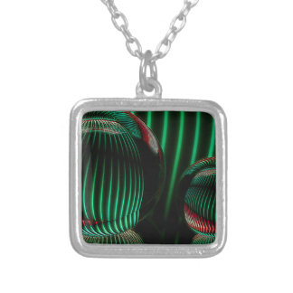 Green with red in the glass silver plated necklace