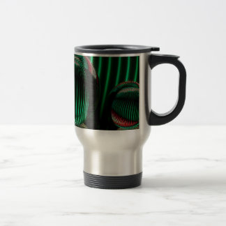 Green with red in the glass travel mug