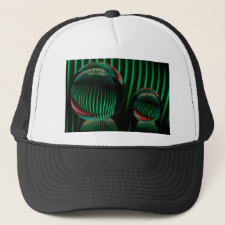 Green with red in the glass trucker hat