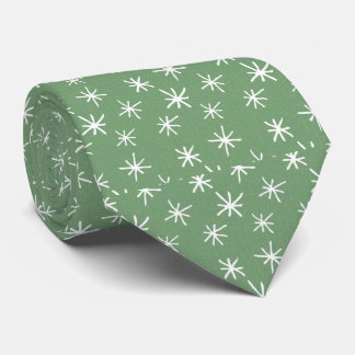 Green with Retro Star Pattern Tie