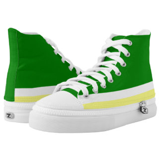 Green with White and Gold Trim Hi-Top Printed Shoes
