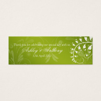 Green with White Floral Wedding Favour Tags Mini Business Card