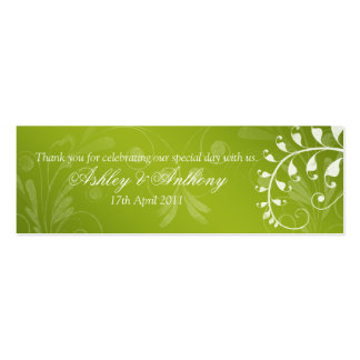 Green with White Floral Wedding Favour Tags Pack Of Skinny Business Cards