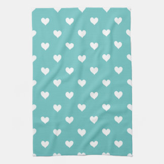Green With White Hearts Kitchen Towel
