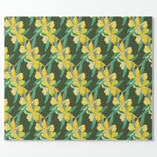 green with yellow flowers wrapping paper