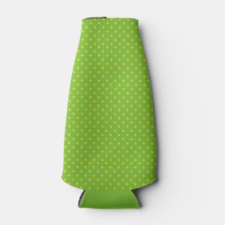 Green with Yellow Polka Dots Bottle Cooler