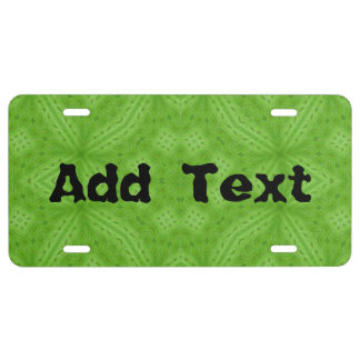Green wood abstract pattern license plate