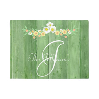 Green Wood with White and Peach floral monogram Doormat