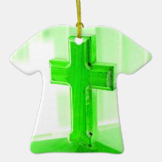 Green wooden cross photograph image church christmas tree ornaments