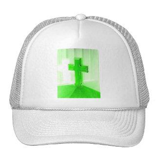 Green wooden cross photograph image church mesh hat