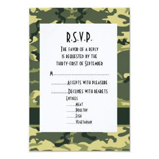 Green woodland camouflage wedding R.S.V.P Announcements