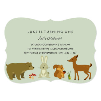 Green Woodland Friends Birthday Invitation
