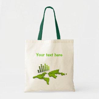Green World Map Bag