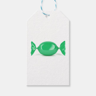 Green wrapped hard candy gift tags