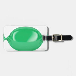 Green wrapped hard candy luggage tag