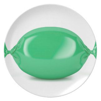 Green wrapped hard candy plate