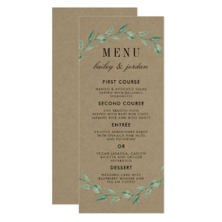 Green Wreath & Modern Typography | Rustic Wedding Card