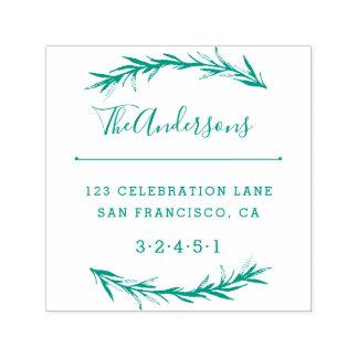 Green Wreath & Vintage Style Script Return Address Self-inking Stamp