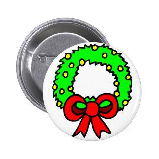 Green Wreath white background Button