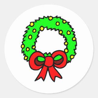 Green Wreath white background Stickers