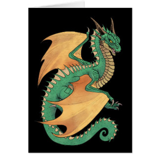 Green wyvern dragon peach wings card