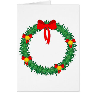 green xmas wreath with red bow card
