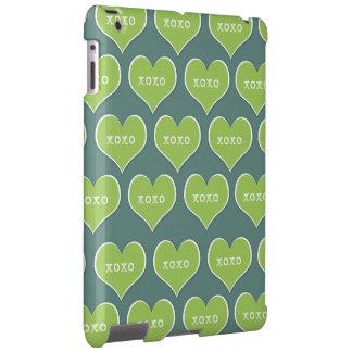 Green XOXO Hearts Customizable Background Color