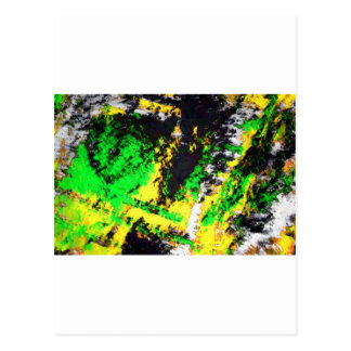 Green Yellow Abstract Design Post Cards