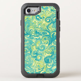 Green Yellow and Aqua Swirled Marble Paper OtterBox Defender iPhone 7 Case