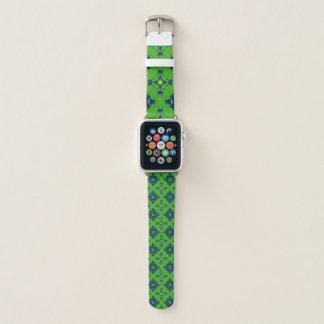 Green yellow and blue mandala pattern apple watch band