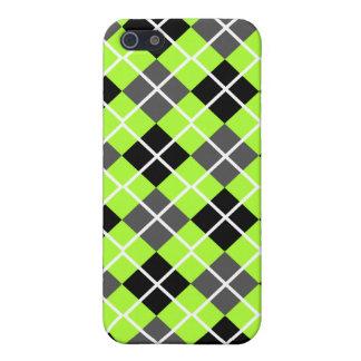 Green-Yellow Black, Grey Argyle iPhone 4 Case