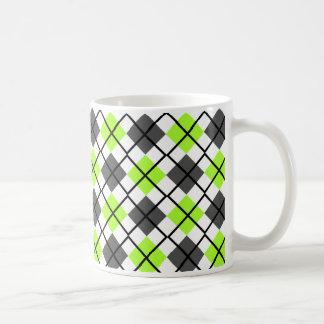 Green-Yellow, Black, Grey, White Argyle Print Mug