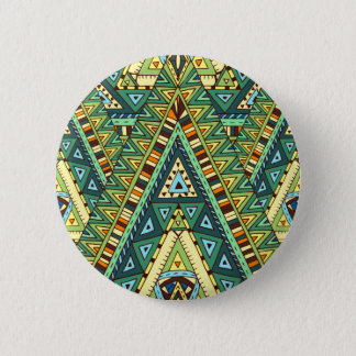 Green yellow boho ethnic pattern 6 cm round badge