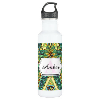 Green yellow boho ethnic pattern 710 ml water bottle