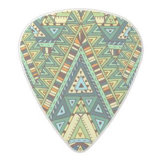 Green yellow boho ethnic pattern acetal guitar pick