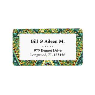 Green yellow boho ethnic pattern address label