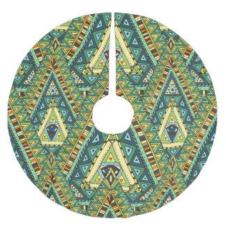 Green yellow boho ethnic pattern brushed polyester tree skirt