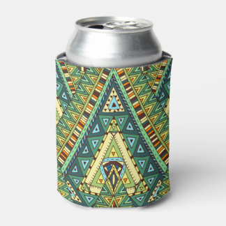 Green yellow boho ethnic pattern can cooler