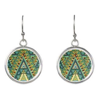 Green yellow boho ethnic pattern earrings