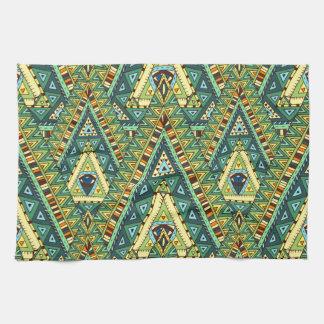 Green yellow boho ethnic pattern kitchen towel