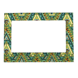 Green yellow boho ethnic pattern magnetic picture frame
