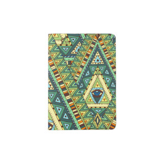 Green yellow boho ethnic pattern passport holder