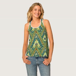 Green yellow boho ethnic pattern singlet