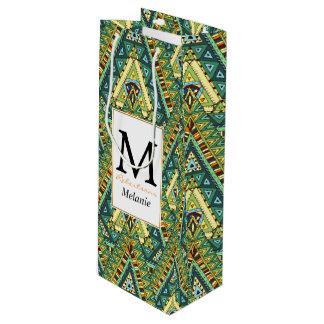 Green yellow boho ethnic pattern wine gift bag