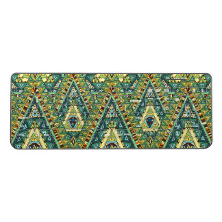 Green yellow boho ethnic pattern wireless keyboard